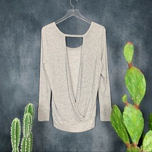 Beyond Yoga Sweaters - Beyond Yoga Open Back Gray Silver Sparkle Sweater
